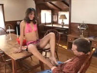 Gal Inside Undies Gives His Man The Foot Job
