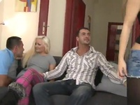 Titless Blonde Angela And Her Girlfriend Have Made Love Huge By 2 Men